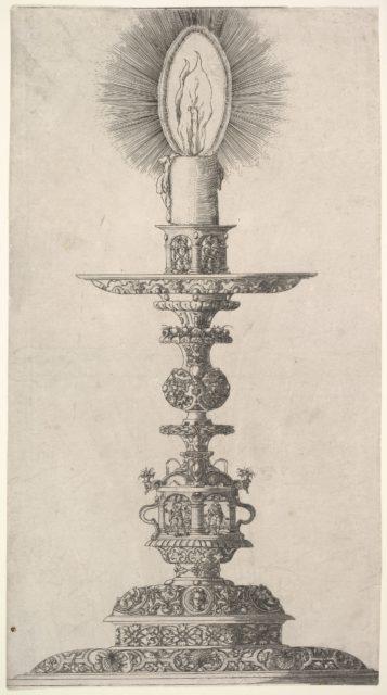 Candlestick with Lighted Candle from: Insigne Ac Plane Novum Opus Cratero graphicum; Ein new kunnstbuch (...) von allerley trinnckgeschiren Credenntzen unnd Bechernn (...)