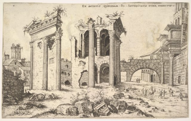 View of unidentified ruins with trabeated facade at left, arcades at center, and arch at right, from the series 'The Roman Ruins' (Praecipua aliquot Romanae antiquitatis ruinarum monimenta, vivis prospectibus)