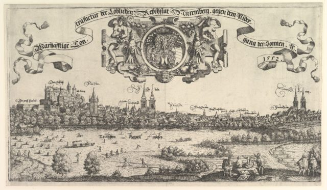 View of Nuremberg, to the west, center plate