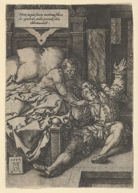 Judge Herkinbald (Archambauld) Stabbing His Nephew