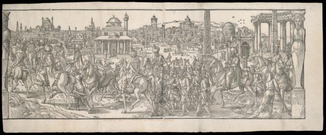 Procession of Sultan Süleyman through the Atmeidan from the frieze Ces Moeurs et fachons de faire de Turcz (Customs and Fashions of the Turks)