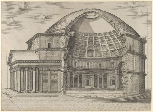 Reconstruction of the Pantheon in Rome, seen from the side, cut away to reveal the interior