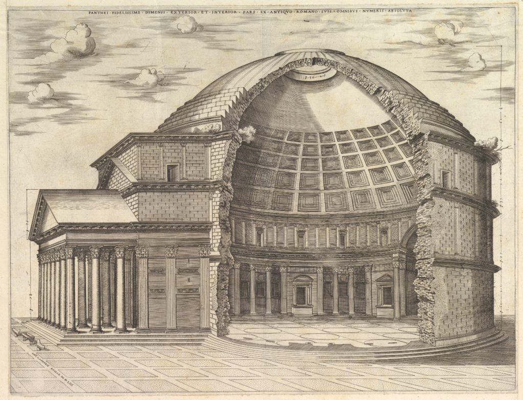 Speculum Romanae Magnificentiae: The Pantheon, broken away to show the interior