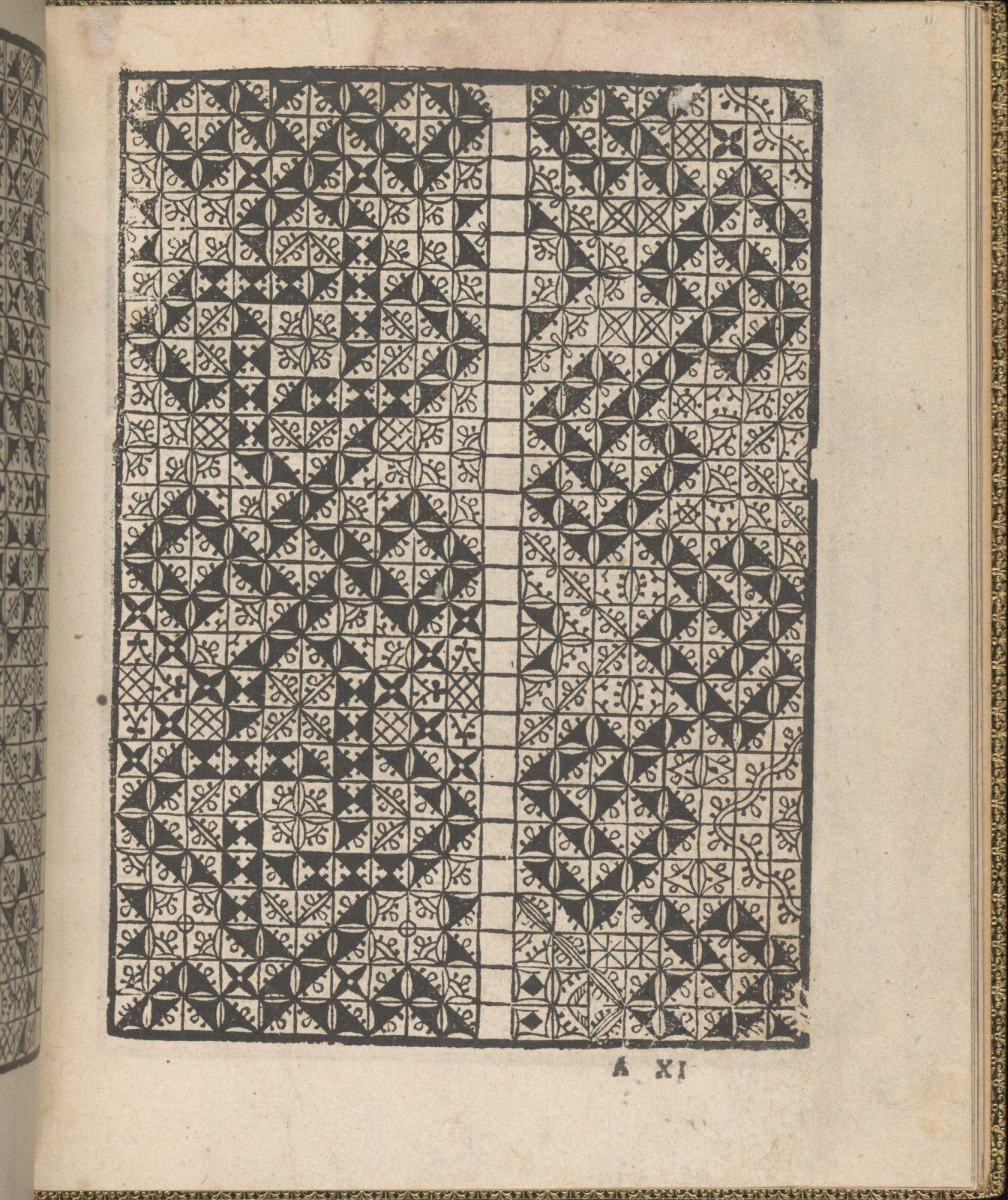 Giardineto novo di punti tagliati et gropposi per exercitio & ornamento delle donne (Venice 1554), page 6 (verso)