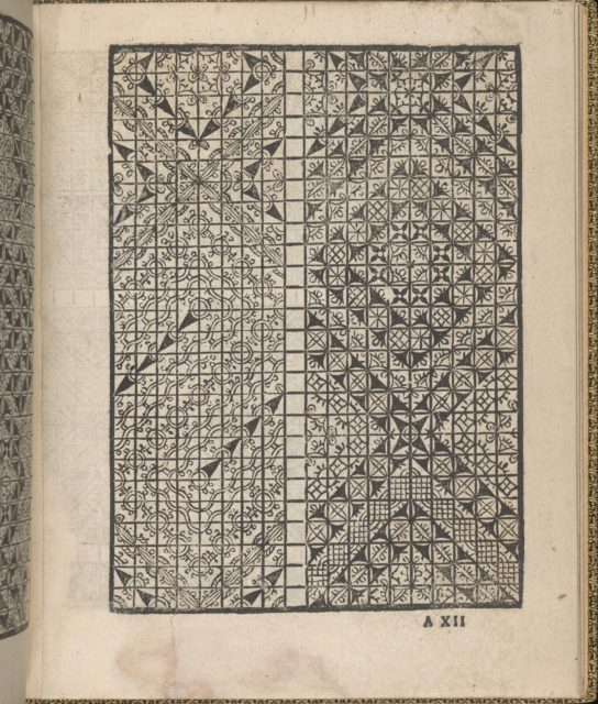 Giardineto novo di punti tagliati et gropposi per exercitio & ornamento delle donne (Venice 1554), page 7 (recto)