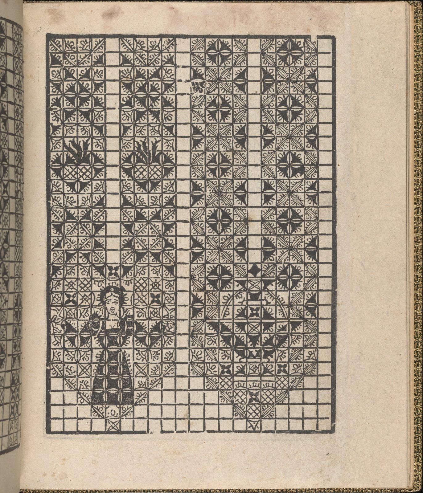 Giardineto novo di punti tagliati et gropposi per exercitio & ornamento delle donne (Venice 1554), page 16 (recto)
