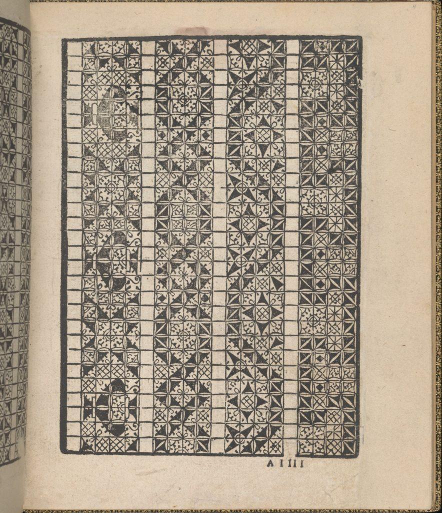 Giardineto novo di punti tagliati et gropposi per exercitio & ornamento delle donne (Venice 1554), page 3 (recto)