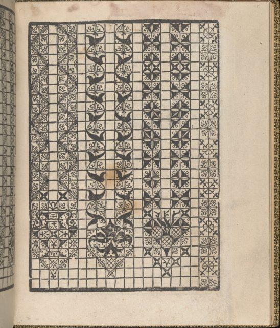 Giardineto novo di punti tagliati et gropposi per exercitio & ornamento delle donne (Venice 1554), page 15 (recto)