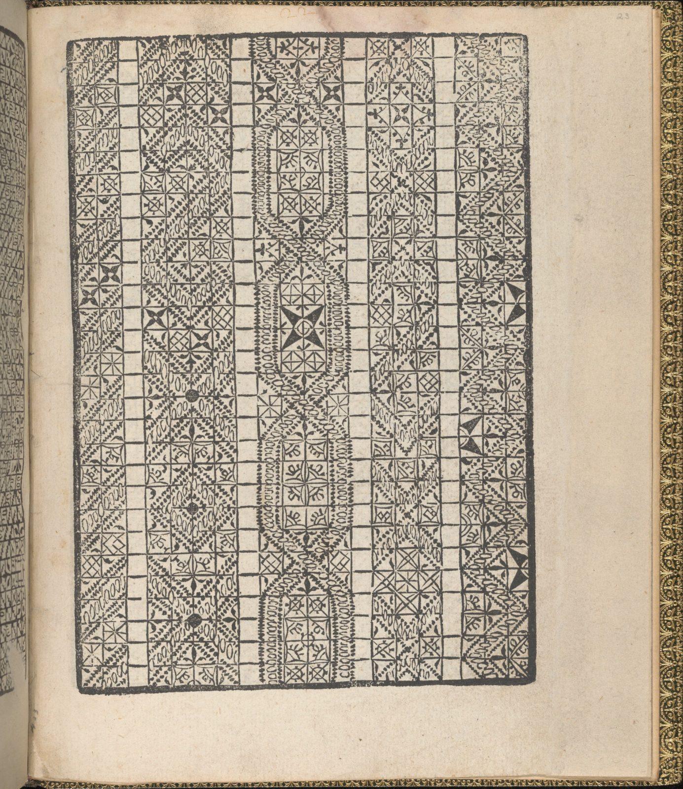 Giardineto novo di punti tagliati et gropposi per exercitio & ornamento delle donne (Venice 1554), page 23 (recto)
