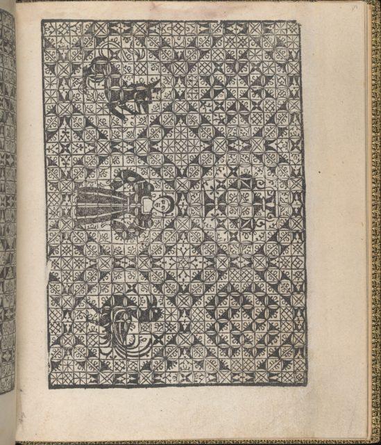 Giardineto novo di punti tagliati et gropposi per exercitio & ornamento delle donne (Venice 1554), page 19 (recto)