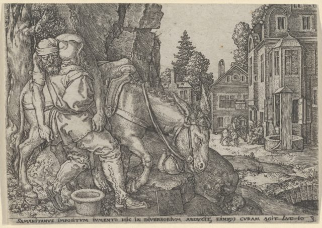 The Good Samaritan Putting the Traveller on His Donkey, from The Parable of the Good Samaritan