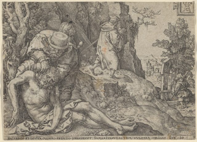 The Good Samaritan Tending the Traveller's Wounds with Oil and Wine or The Priest and the Levite Passing, from The Parable of the Good Samaritan