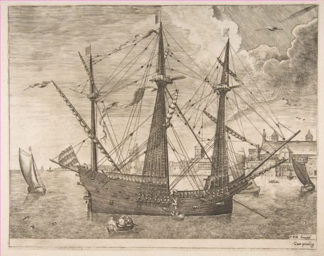 Armed Three-Master Anchored Near a City from The Sailing Vessels