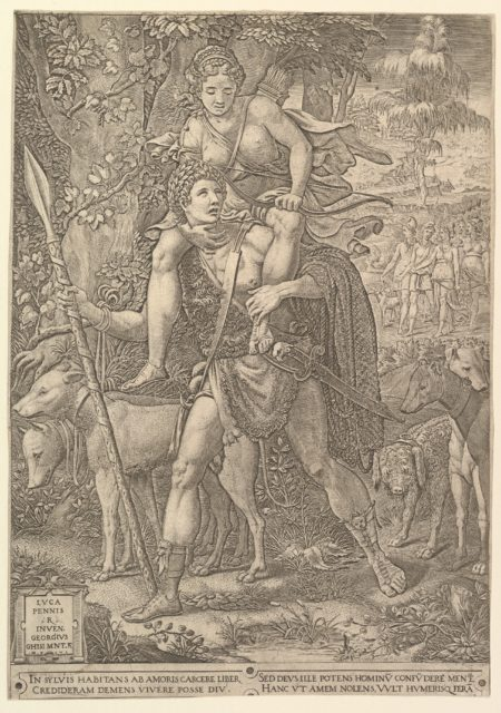 Allegory of the Hunt; a hunter holding a large spear carrying a woman (Diana?) on his shoulders; five hunting dogs in the foreground and a retinue of male and female hunters in the background