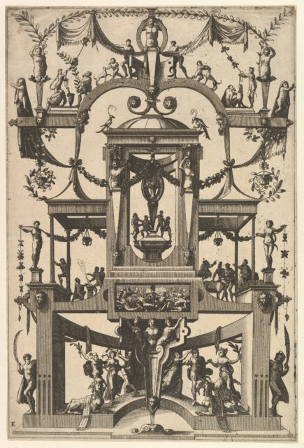 Surface Decoration, Grotesque with Strapwork, Aedicula at Center, on Either Side Recessed Balconies, in Frame at Lower Center Moses and the Brazen Serpent from Veelderleij Veranderinghe van grotissen ende Compertimenten...Libro Primo