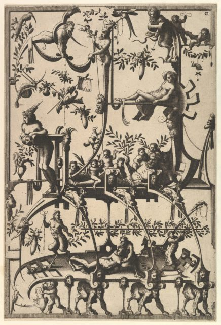 Surface Decoration, Grotesque with Strapwork, Borne by Satyrs from Veelderleij Veranderinghe van grotissen ende Compertimenten...Libro Primo
