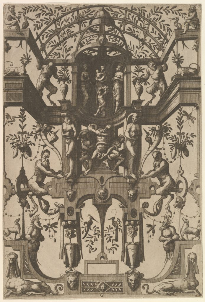 Surface Decoration, Grotesque with Strapwork, including Double Wall Niche, at the Top the Christian Virtues Faith, Hope and Charity, at the Center the Laocoon from Veelderleij Veranderinghe van grotissen ende Compertimenten...Libro Primo