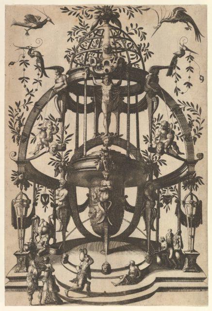 Vase Placed in Center of a Tempietto with Lattice, an Arch at the Top from Veelderleij niewe inventien van antijckesche sepultueren diemen nou zeere ghebruijkende is met noch zeer fraeije grotissen en compertimenten zeer beqwame voer beeltsniders antijcksniders schilders en all constenaers...Libro Secundo