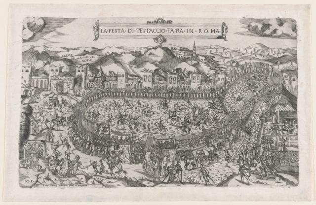 Speculum Romanae Magnificentiae: Carnival games held in the Mount Testaccio in Rome
