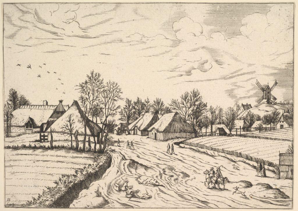 Country Village with Post Mill from Multifariarum casularum ruriumque lineamenta curiose ad vivum expressa