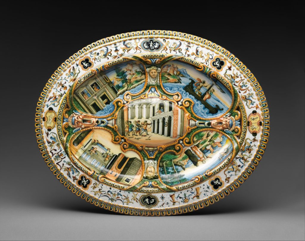 Oval basin or dish with subject from Amadis of Gaul