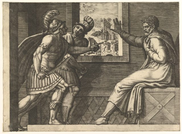 Caius Marius in prison; two Cimbrian soldiers entering his cell