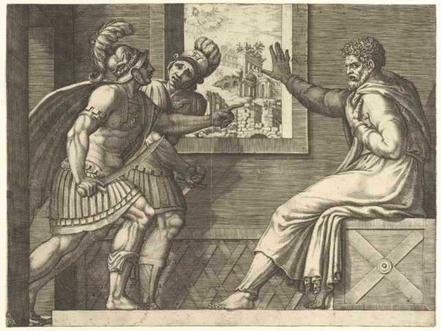 Caius Marius in Prison, two Cimbrian soldiers entering his cell