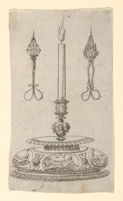 Design for a Candlestick with Candle Wick Trimmers