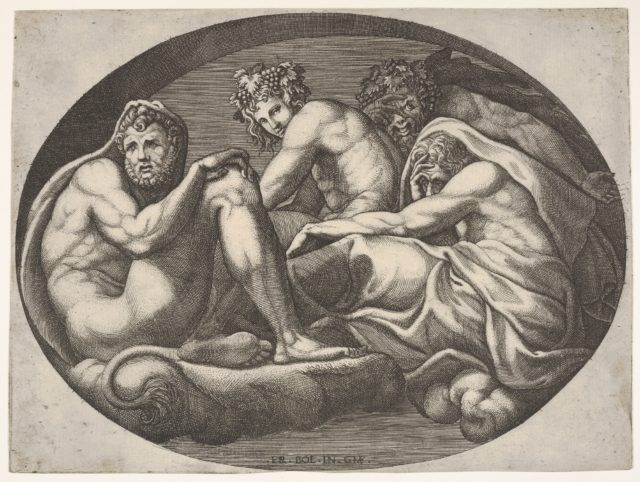 Hercules, Bacchus, Pan, and another god seated on a cloud under an arch, an oval composition, from a series of eight compositions after Francesco Primaticcio's designs for the ceiling of the Ulysses Gallery (destroyed 1738-39) at Fontainebleau
