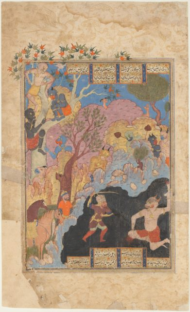 """""""Rustam Slays the White Div"""", Folio from a Shahnama (Book of Kings)"""