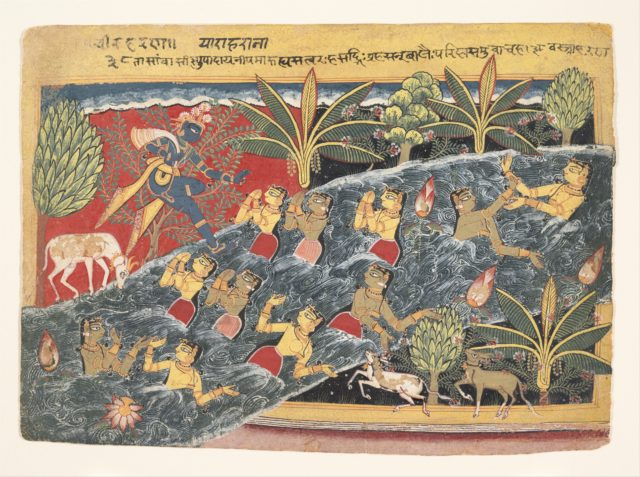 "The Gopis Plead with Krishna to Return Their Clothing: Folio from ""Isarda"" Bhagavata Purana"