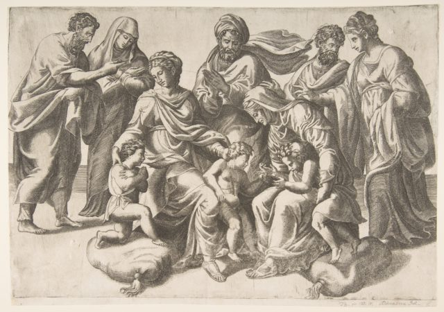 The Holy Kinship, in thecentre the Christ Child takes a bird given to him by the infant John the Baptist