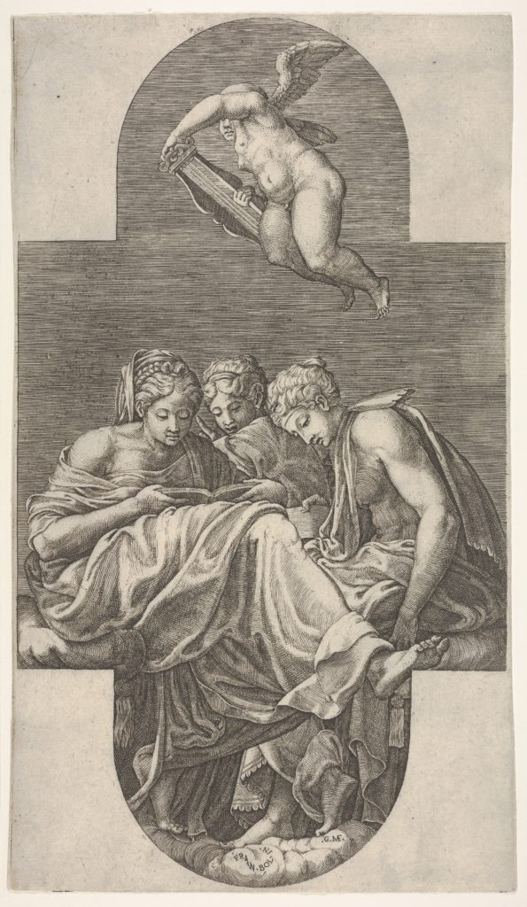 Three Muses seated below a flying putto who grasps a lyre with both hands, a cruciform composition, from a series of eight compositions after Francesco Primaticcio's designs for the ceiling of the Gallery of Ulysses (destroyed 1738-39) at Fontainebleau
