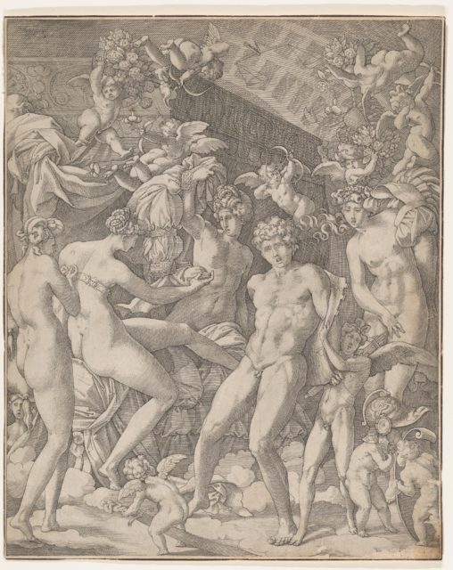 Venus and Mars with cupid and the Three Graces