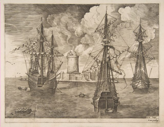 Four-Master (Left) and Two Three-Masters Anchored near a Fortified Island with a Lighthouse from The Sailing Vessels