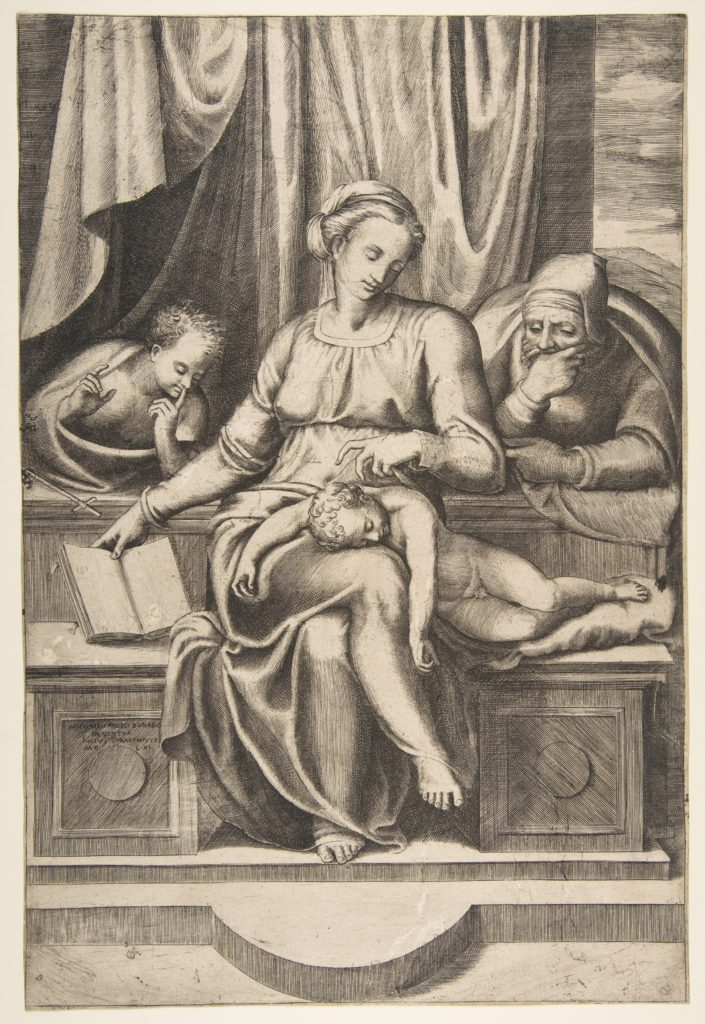 Virgin and Child with Saints Joseph and John the Baptist (after Michelangelo's Madonna del Silenzio)