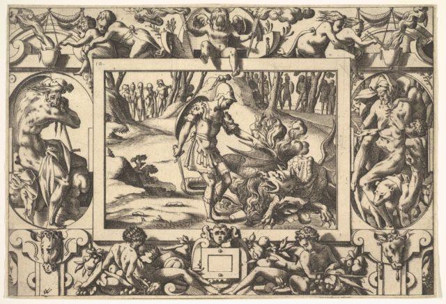 Jason confronting the dragon guarding the Golden Fleece, from: Histoire de Jason et de la conquête de la toison d'or