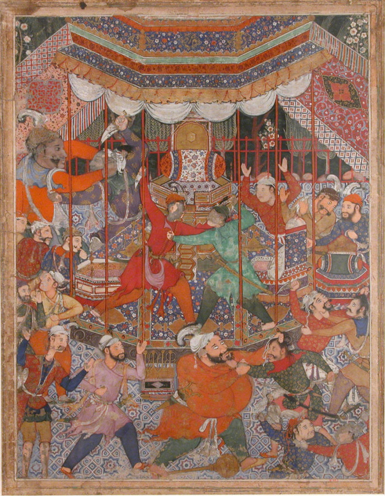"""Hamza's Heroes Fight in Support of Qasim and Badi'uzzaman"", Folio from a Hamzanama (The Adventures of Hamza)"