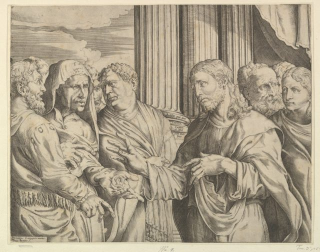 The Triubute Money: Christ at center right gesturing to man at his left with coins in his hand, other figures surrounding them; columns and drapery in the background