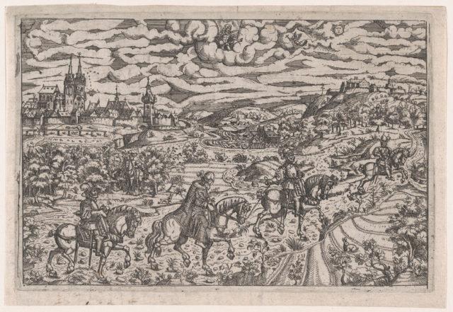 Albrecht von Rosenberg abducting Hieronymus Paumgartner