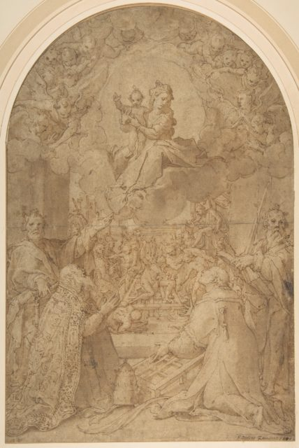 The Virgin and Child Appearing to Saint Peter, Saint Damasus, Saint Lawrence, and Saint Paul; the Martyrdom of Saint Lawrence in the Background