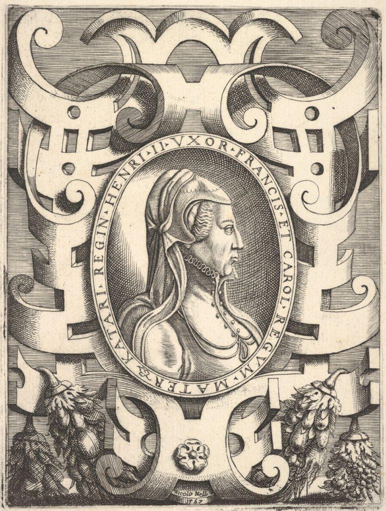 Bust profile portrait of Catherine de' Medici in an ornamented frame,from 'Portraits of some princes and illustrious people' ('Ritratti di alcuni prencipi, et huomini illustri'; also titled 'Imagines quorundam principum et illustrium virorum'), published by Bolognino Zaltieri in Venice in 1568