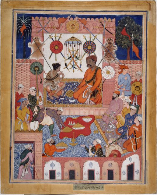 """""""Misbah the Grocer Brings the Spy Parran to his House"""", Folio from a Hamzanama (The Adventures of Hamza)"""