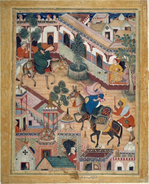"""""""The Spy Zambur Brings Mahiya to the City of Tawariq"""", Folio from a Hamzanama (Book of Hamza)"""