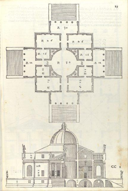 Villa Almerico (Villa Rotunda), from I quattro libri dell'architettura di Andrea Palladio (Book 2, page 19)