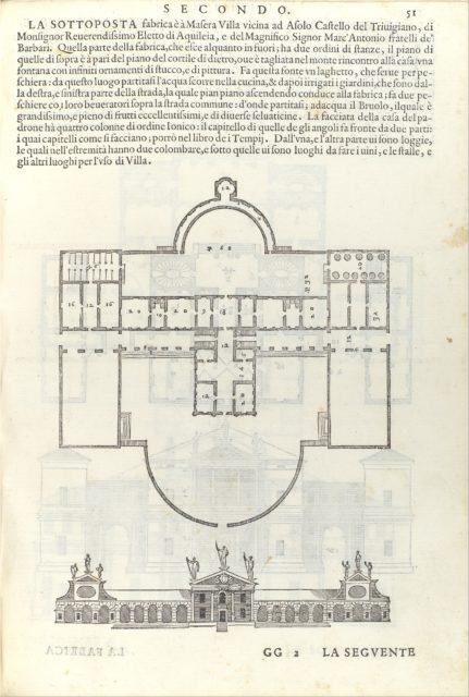 Villa Barbaro, from I quattro libri dell'architettura di Andrea Palladio (Book 2, page 51)