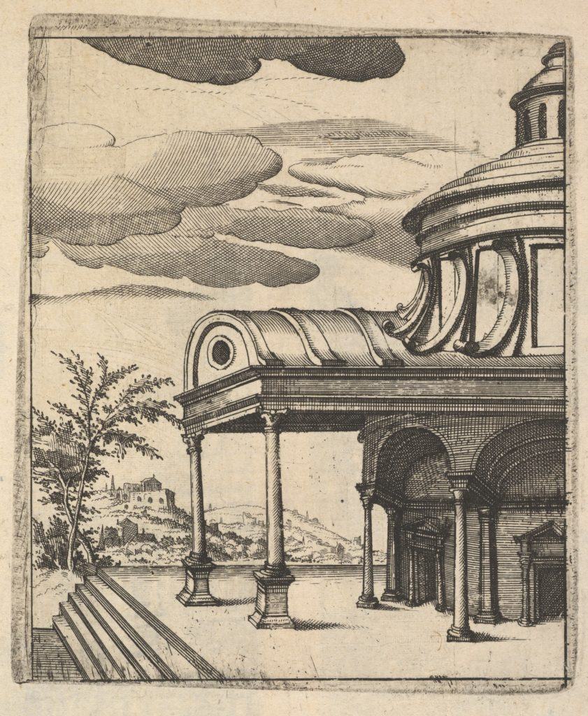 Partial view of a Building [Tem Ro Penatibus Dicatu] from the series 'Ruinarum variarum fabricarum delineationes pictoribus caeterisque id genus artificibus multum utiles'
