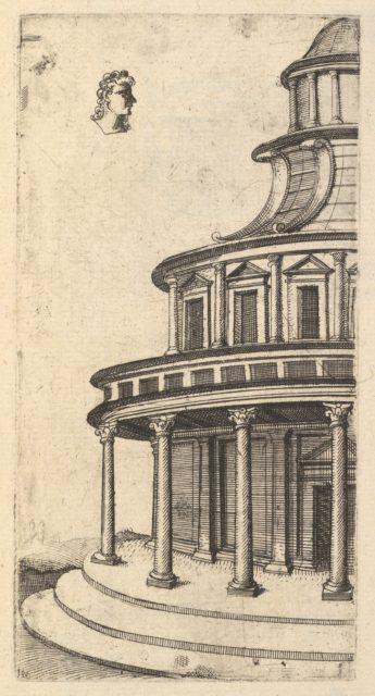 Partial view of a Building [Templum Iovis Ultoris) from the series 'Ruinarum variarum fabricarum delineationes pictoribus caeterisque id genus artificibus multum utiles'