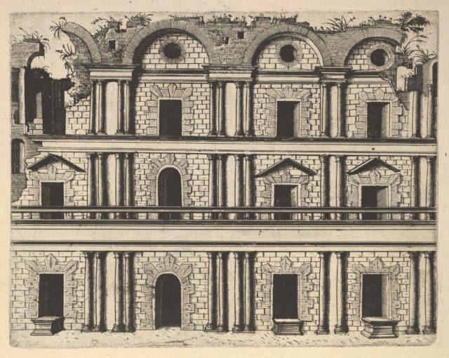 Ruin of a Palace Facade [Palatium M. Agrippa] from the series 'Ruinarum variarum fabricarum delineationes pictoribus caeterisque id genus artificibus multum utiles'