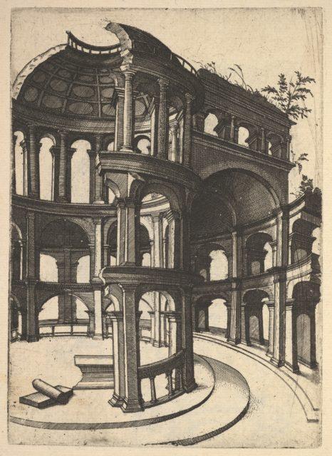 Ruin of a round Temple [Templum Idor Egito], from the series 'Ruinarum variarum fabricarum delineationes pictoribus caeterisque id genus artificibus multum utiles'